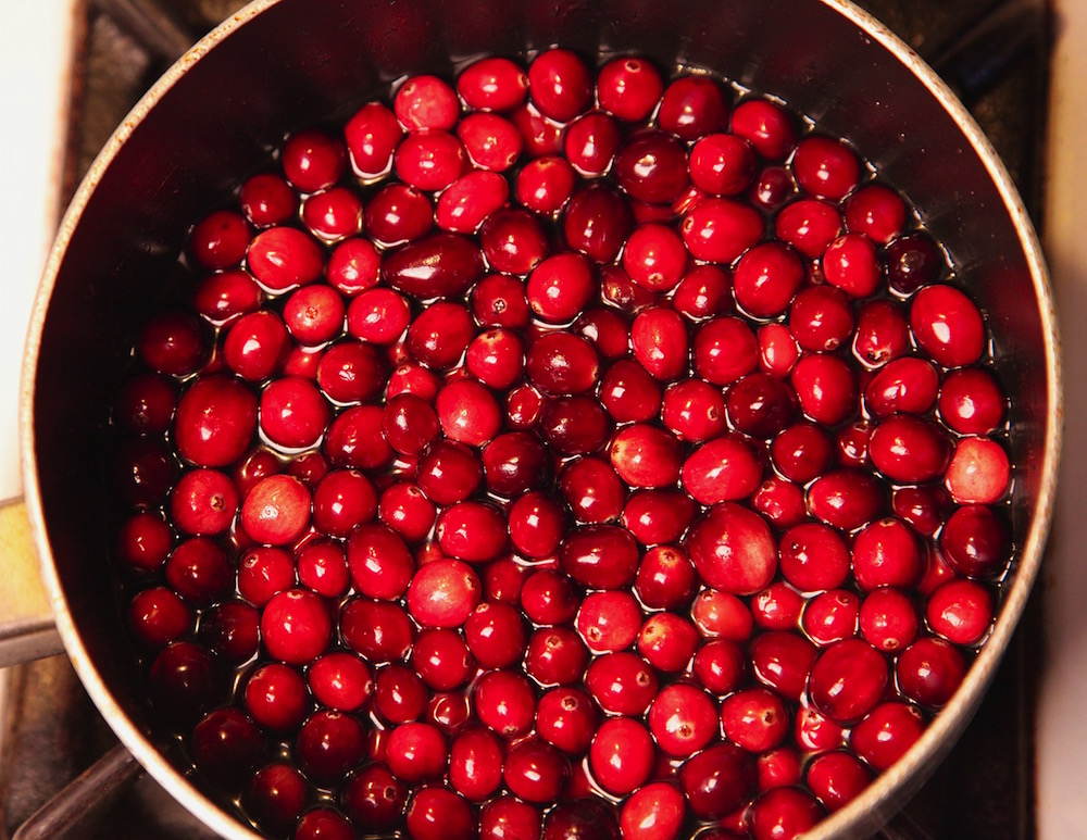 cranberries soaking in syrup