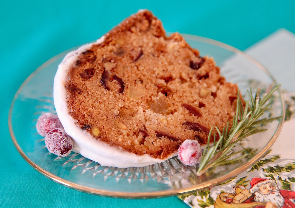 a slice of the unbelievably delicious fruitcake