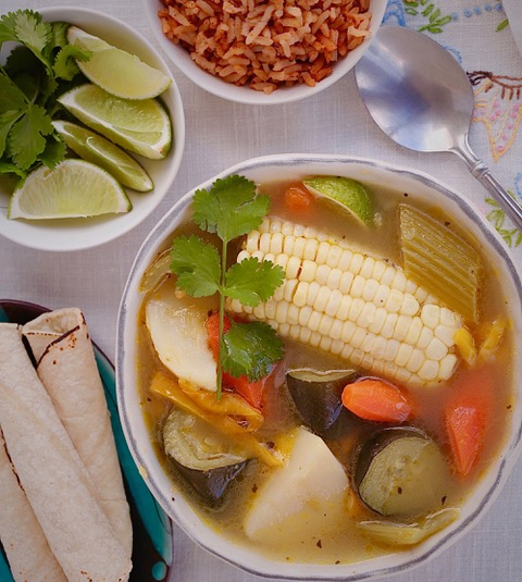 Mexican Style Vegetable Soup served with Mexican rice and corn tortillas. Caldo De Vegetales