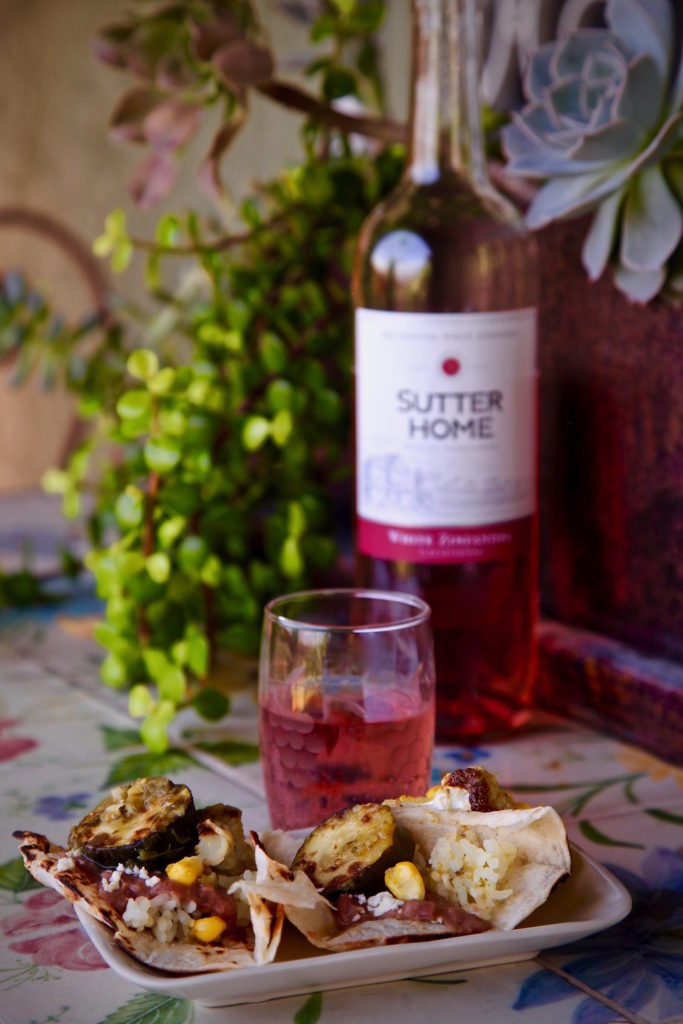 Vegetarian Chile Verde paired with Sutter Home White Zinfandel on the patio.