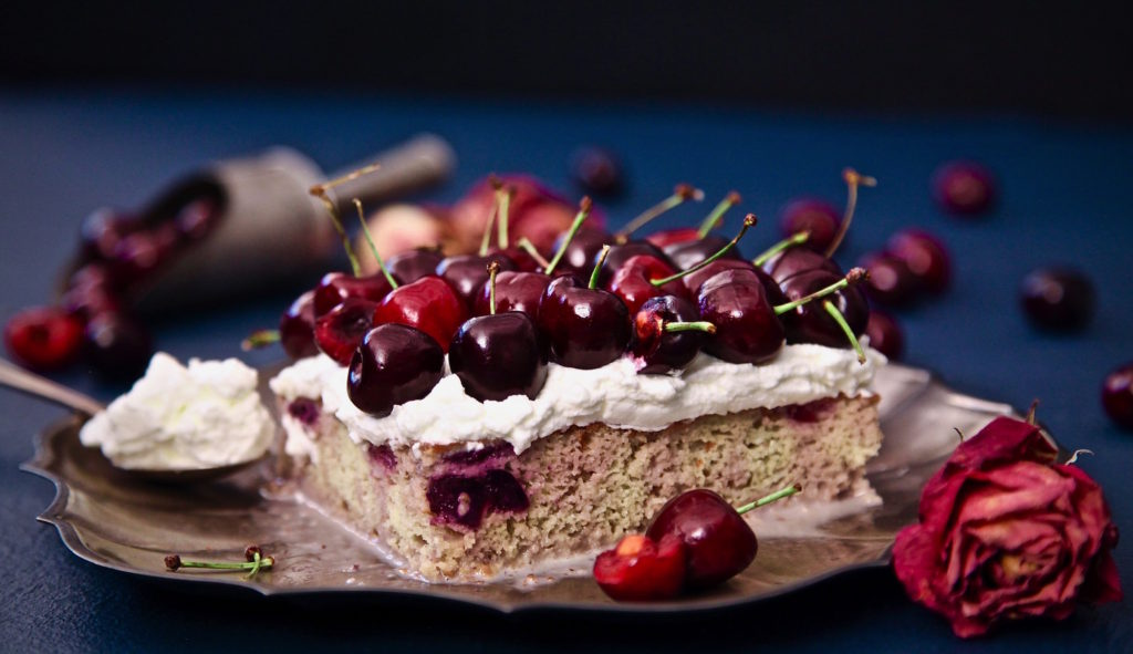 Cherry Tres Leches Cake, is a cherry cake with cherry infused tres leches cream. Kinda out of this world.