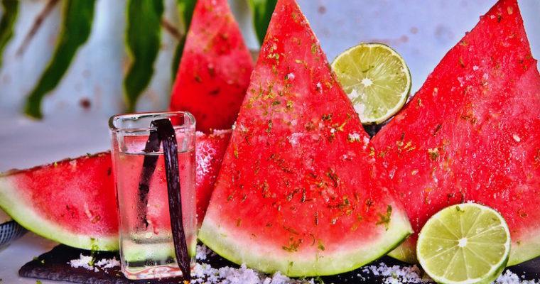 Vanilla Vodka Infused Watermelon Sprinkled In Lime Sugar