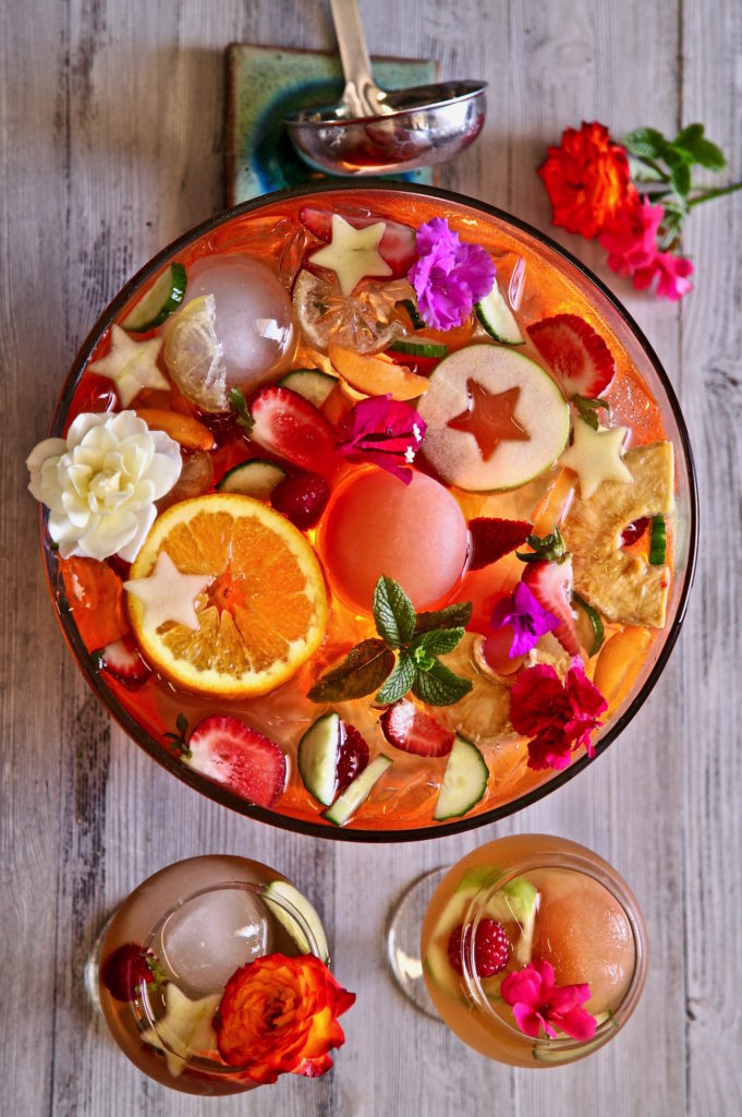 Fruity Iced Tea Punch Bowl made with TADIN Artichoke Tea Blend