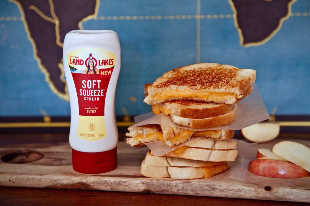 Find all your ingredients at Walmart for Easiest Crispy Grilled Cheese Sandwich With New Land O' Lakes Soft Squeeze Spread