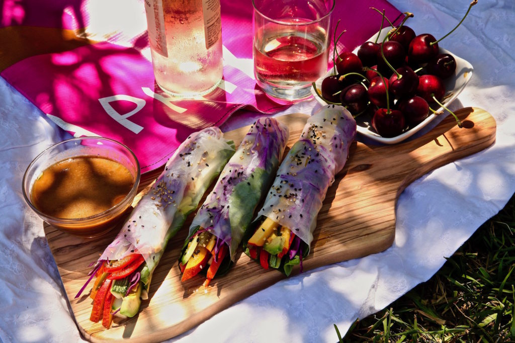 Full flavored fresh vegan spring rolls are perfect for the Hollywood Bowl movie concert series picnic.