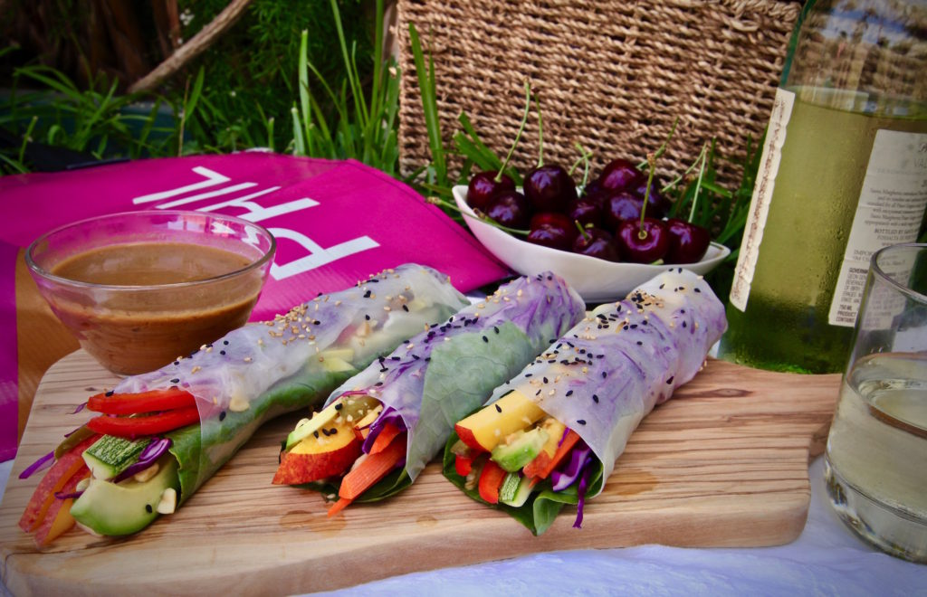 Full flavored fresh vegan spring rolls are also gluten free. They pack perfectly for a picnic at the Hollywood Bowl for the Movie Concert series!