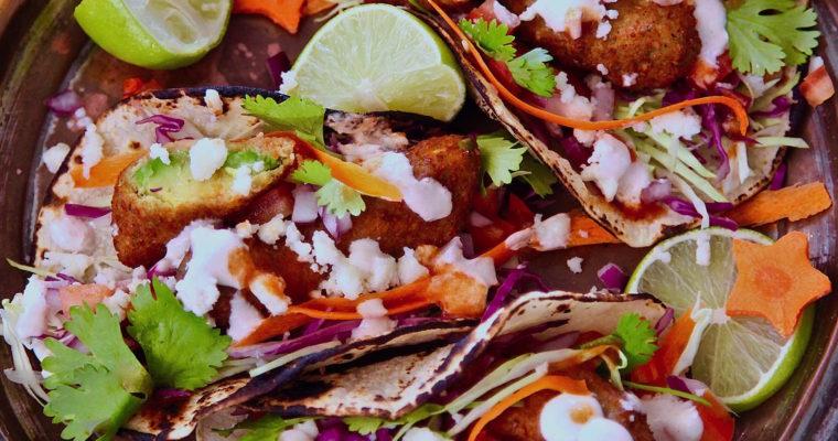 Falafel Encrusted Avocado Tacos