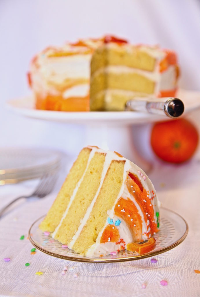 Moist Layer Orange Cake With Buttercream Frosting Long photo
