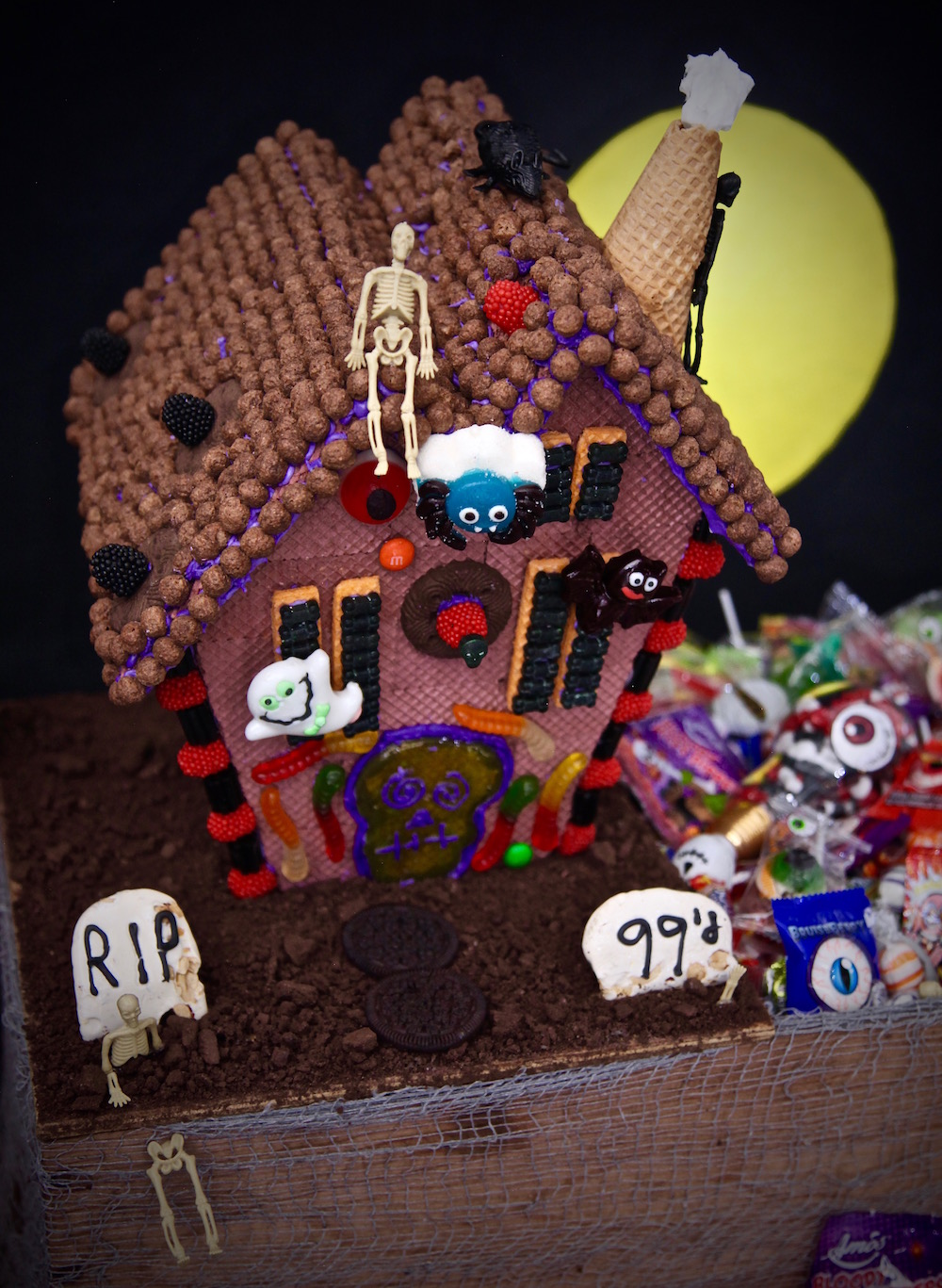 Epic Haunted house graveyard Halloween Candy box made with everything from the 99 cents only stores.