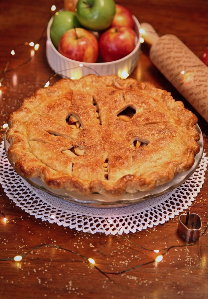 Double Crusted Apple Pie made with a variety of apples