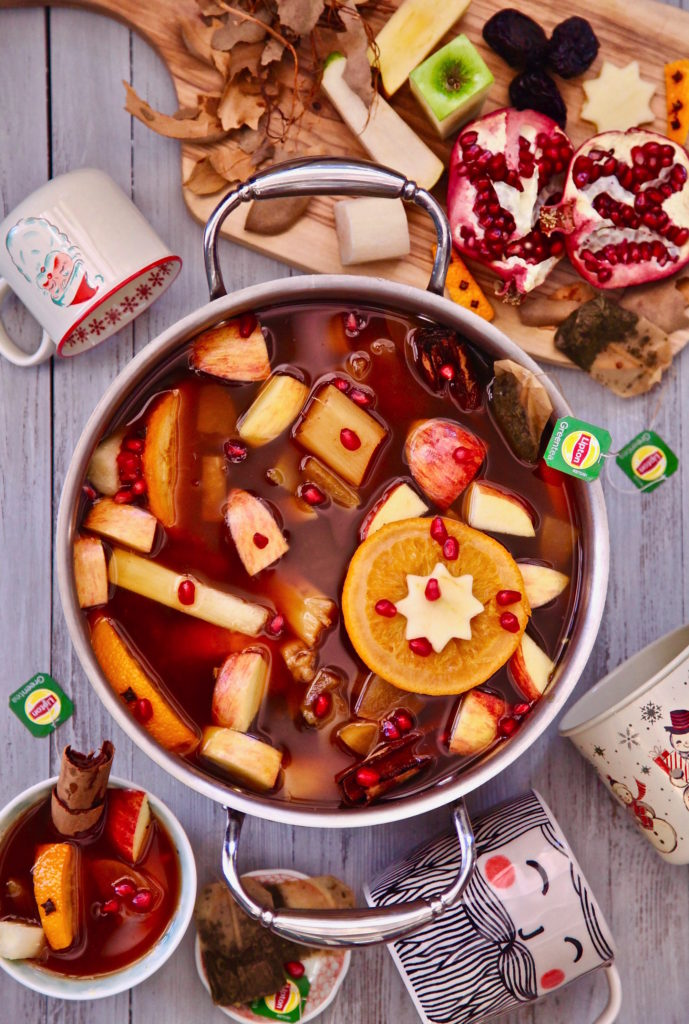 Mexican Christmas Punch / Ponche Navideño made with Lipton Green Tea and fruit