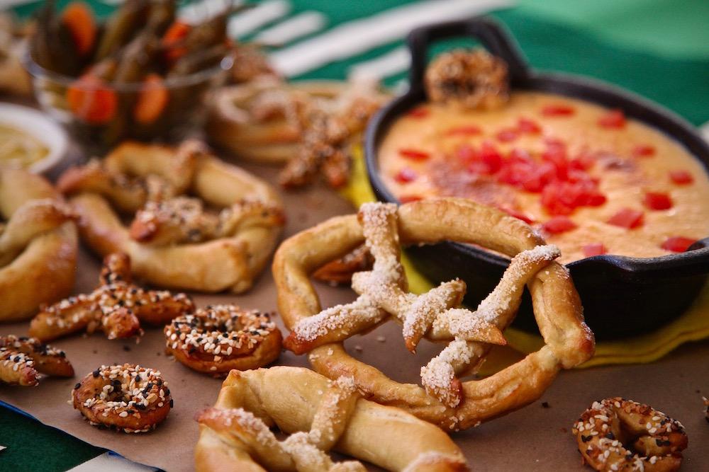 Oooey-gooey Mexican Beer Oaxaca Cheese Dip with Football Pretzels