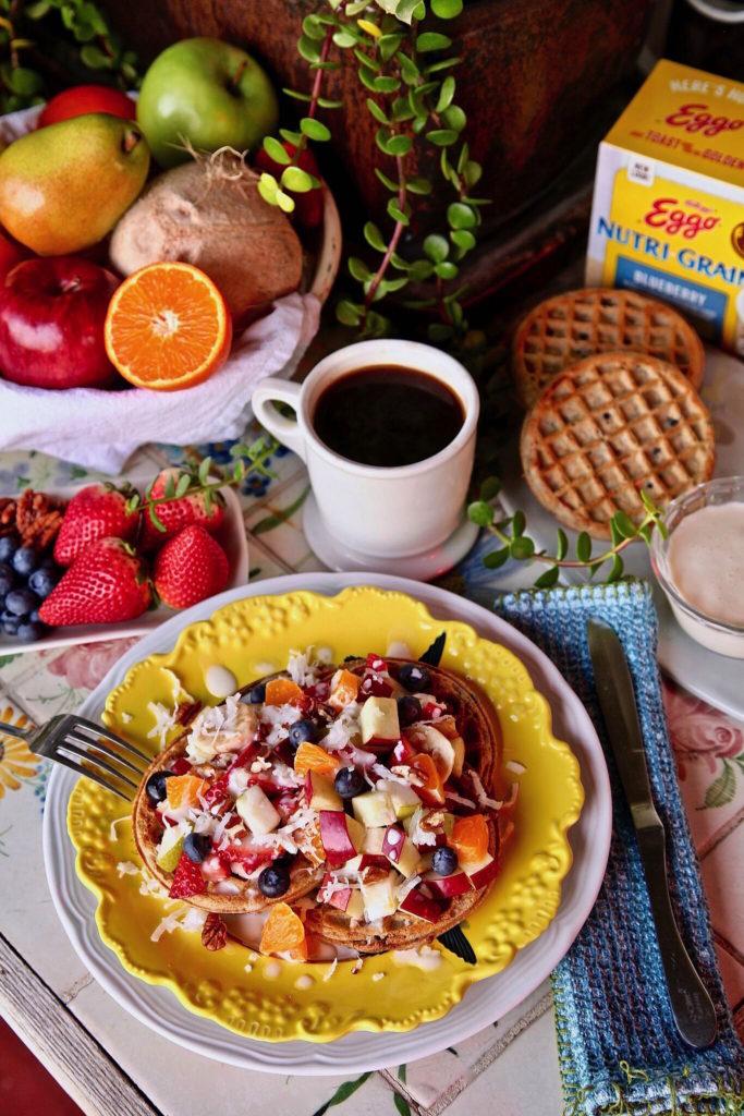 Eggo waffle fruit salad breakfast