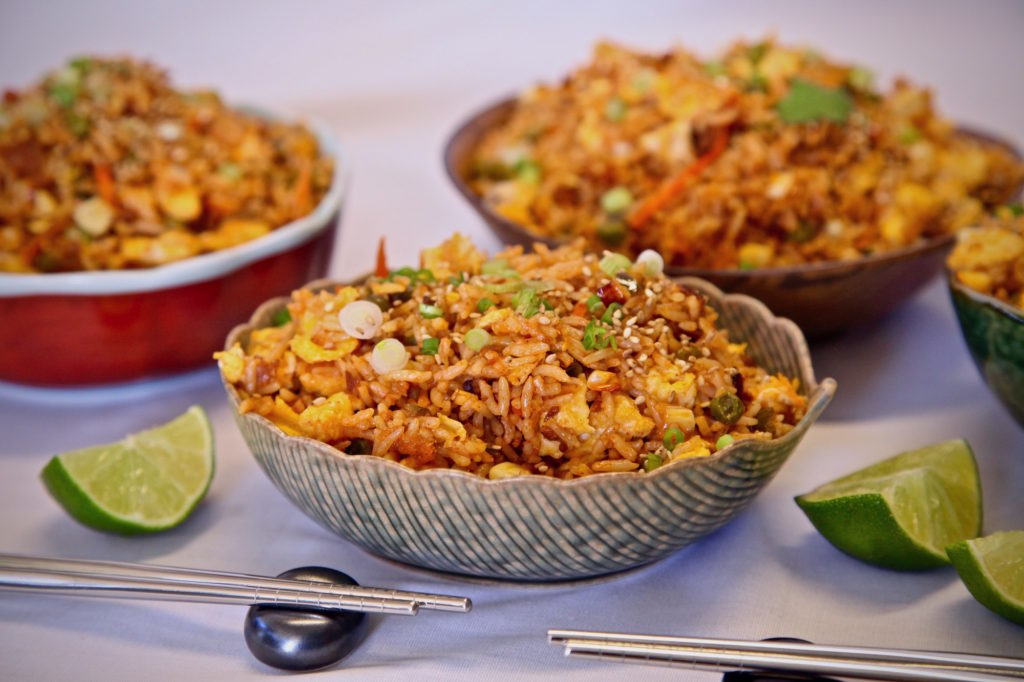 Soy Chorizo Fried Rice made with RiceSelect Texmati. It's a wonderful dish for a vegetarian week night meal or a party!