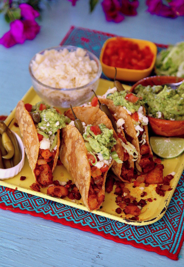 Soy Chorizo Potato Tacos are vegan based, but if you add cheese they become vegetarian bites. The choice is yours!