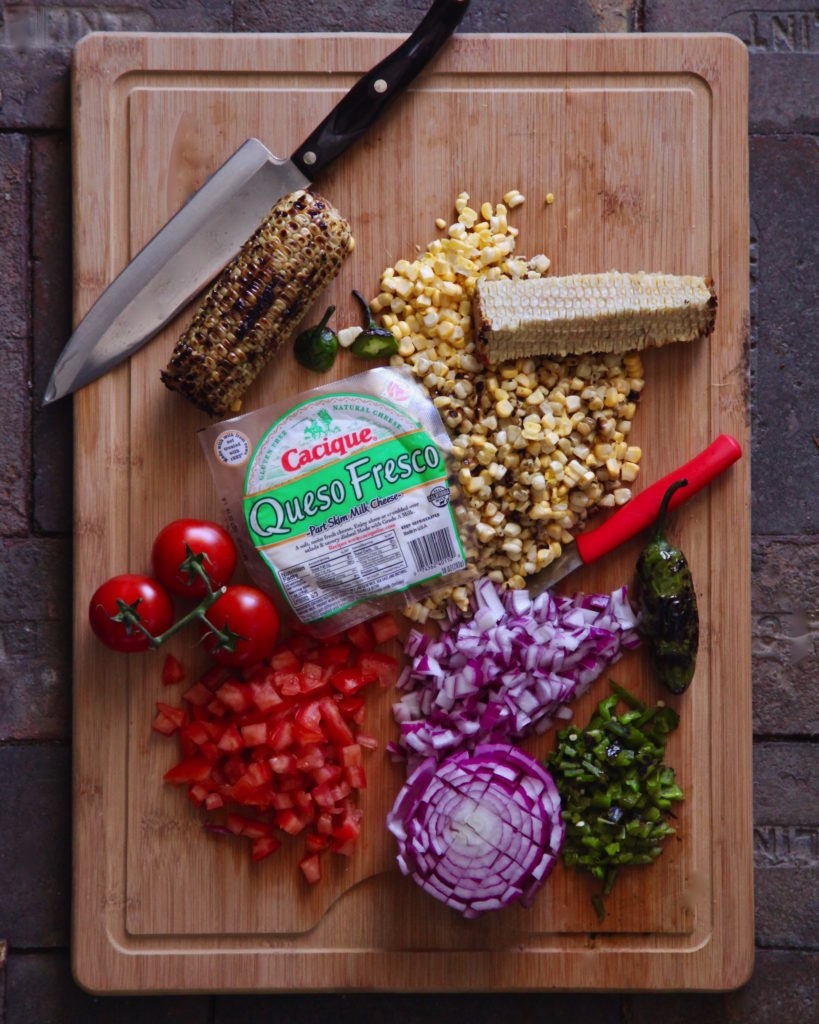 Cacique's Queso Fresco and the ingredients for a corn relish
