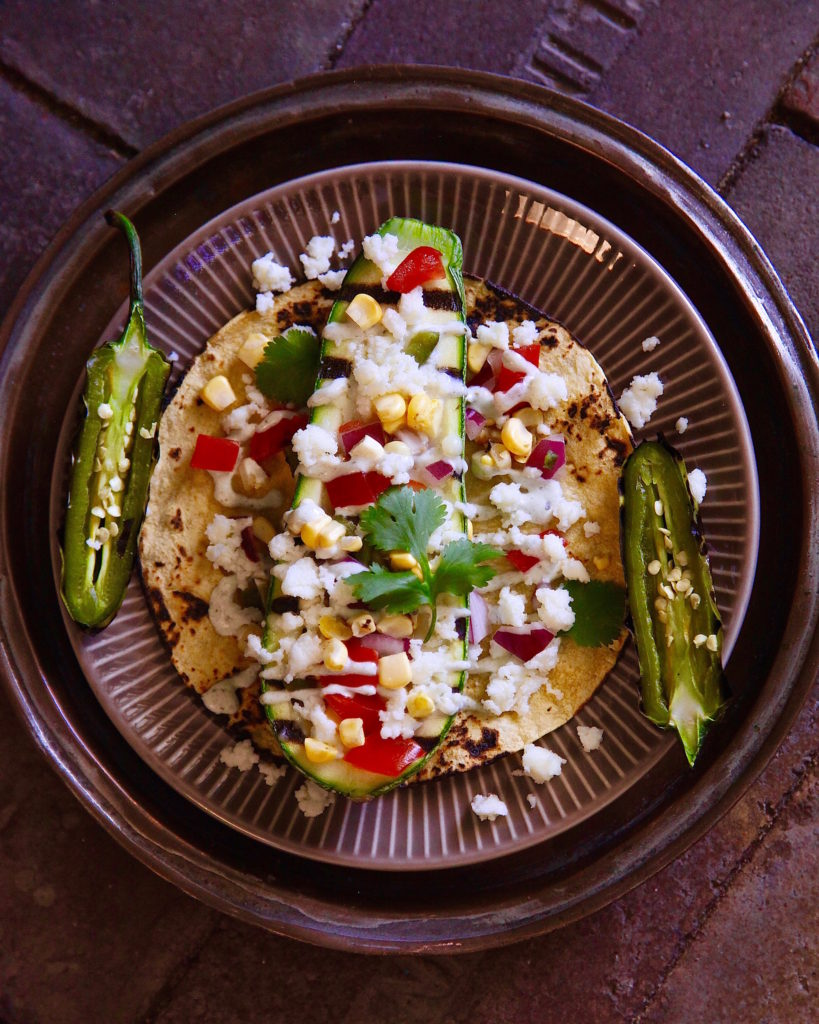 Grilled Calabacita Taco stuffed with Cacique's queso fresco and a corn relish.