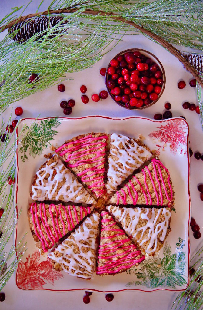 Cranberry Coffeecake drizzled in a hibiscus glaze!