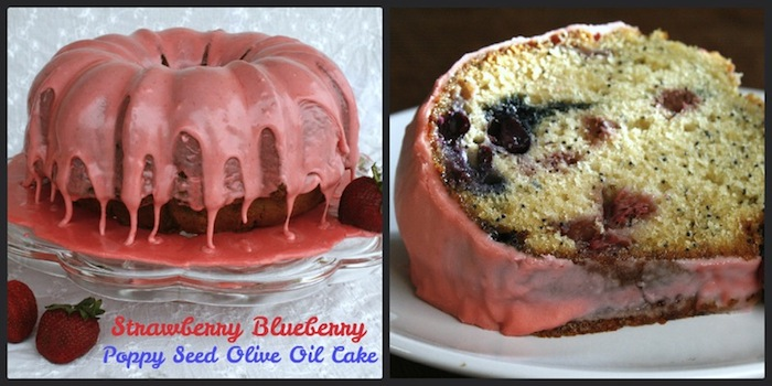 Strawberry Blueberry Poppy Seed Olive Oil Cake with Strawberry Icing