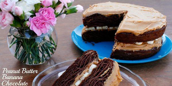 Honey Peanut Butter Banana Chocolate Crepe Cake