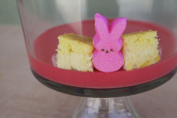 Alternating between a piece of cake and a peep for an Easter trifle