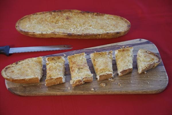 Sliced cheesy garlic bread