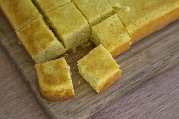 Lemon cake cut into cubes for trifle bowl.