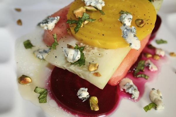 beet watermelon cucumber salad in a honey lime dressing