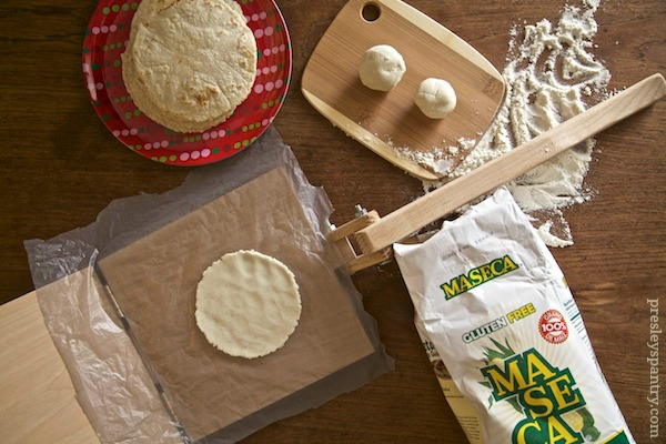 tortillas being made with Maseca