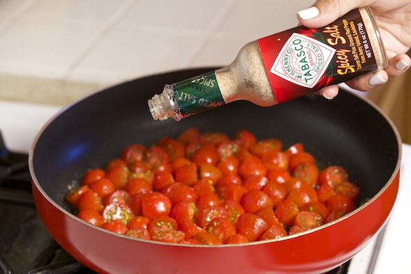 Blistered tomatoes sprinkled with Tabasco Spicy Salt