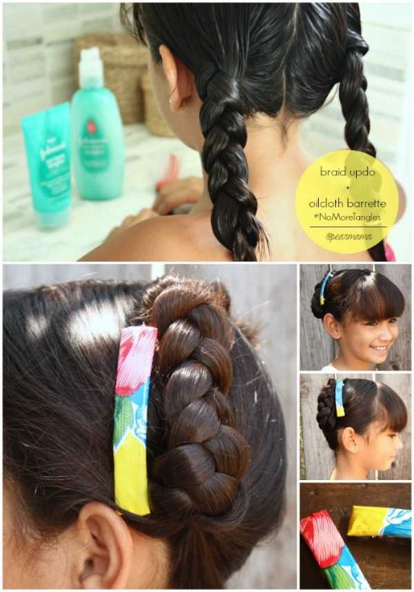 braid-updo-diy-oilcloth-barrettte-no-more-tangles-pinterest