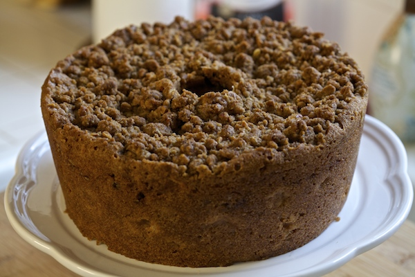 whole grain apple coffee cake on cake stand #WMTMoms