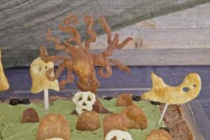 a closer view of Halloween graveyard bean dip