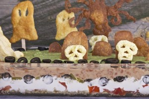 A close up look at Halloween graveyard. I used Cheetos 'Bag Of Bones' skulls for the headstones.