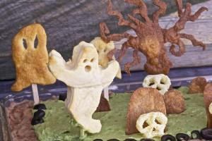 The big ghost for Halloween graveyard bean dip