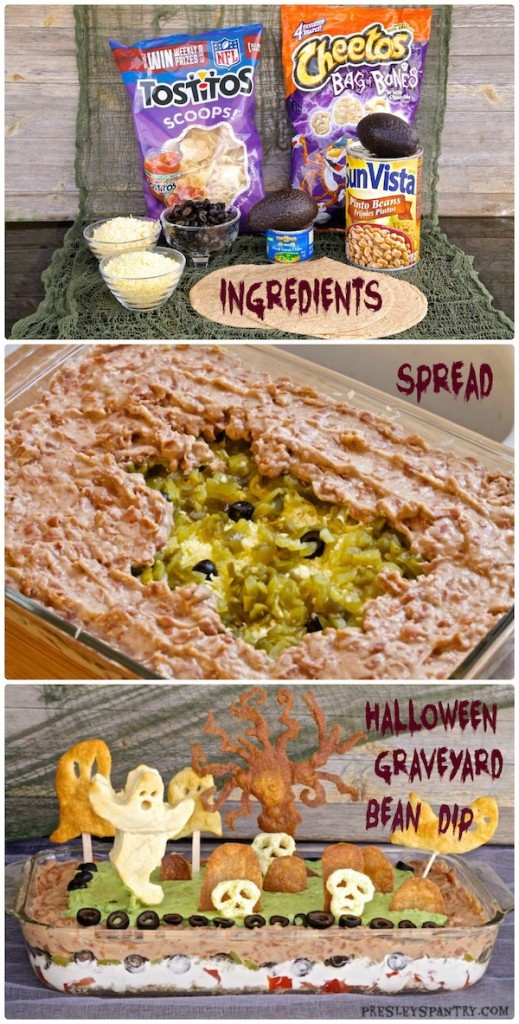 Easy steps to make this Halloween graveyard bean dip. I used tortilla to create the trees and headstones, and pillsbury crescent dough to make the ghosts. Can be enjoyed warm or cold.
