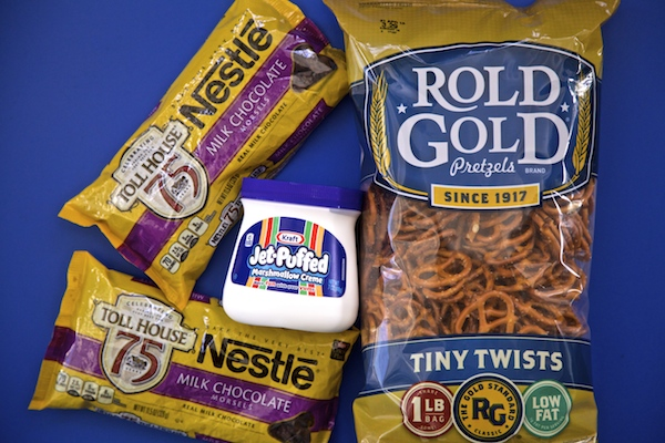 all the ingredients for pretzel s'mores.