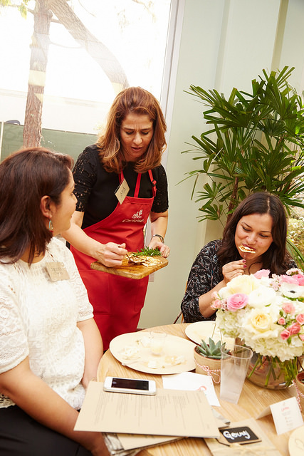 A serving of Cacique fried panela is shared between Nicole Presley and Ericka Sanchez.