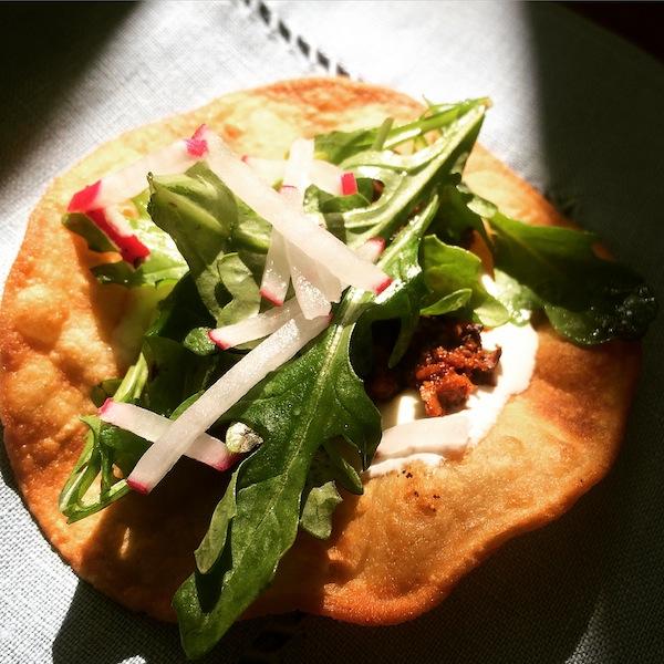 A delicious Cacique soy chorizo tostada