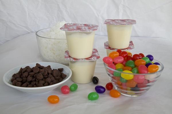 Ingredients to make Easter snack packs