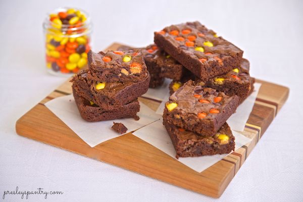 Brownies topped with Reese's Pieces