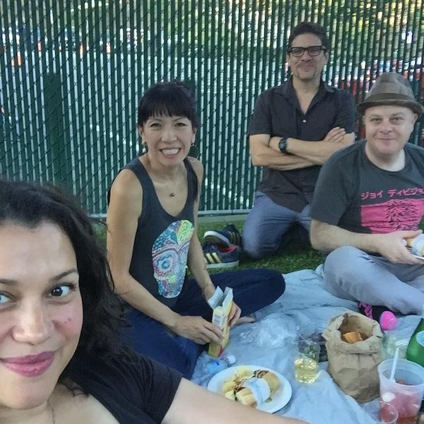 Friends having a picnic at the hollywood bowl