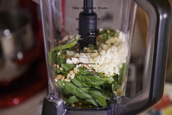 All pesto ingredients in blender.