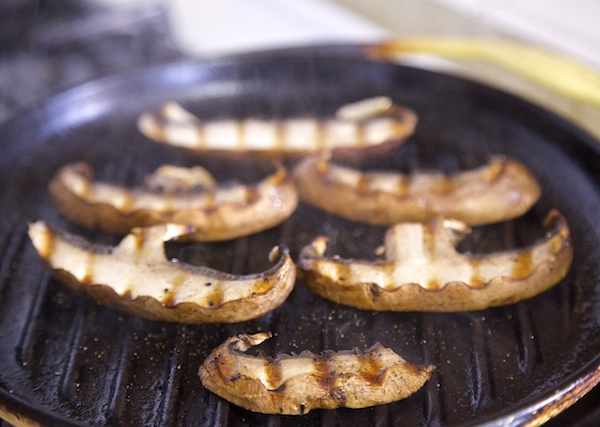 mushrooms grilling until cooked