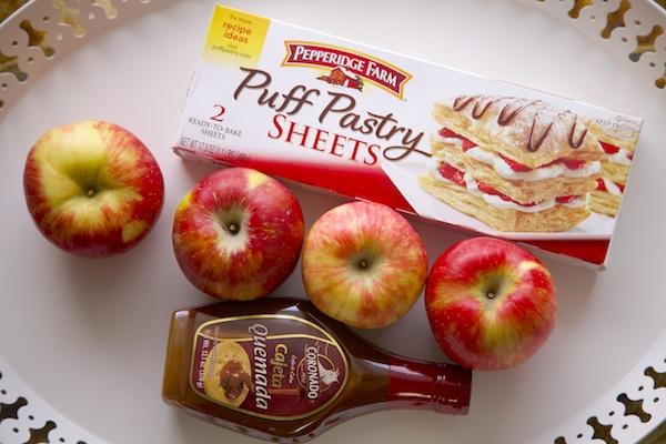 the ingredients to make Cajeta Apple rosettes.