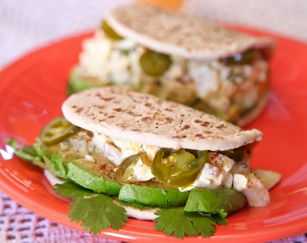 Perfect latin picnic food: Spicy Egg Salad served on Flatout Everything Flat bread.