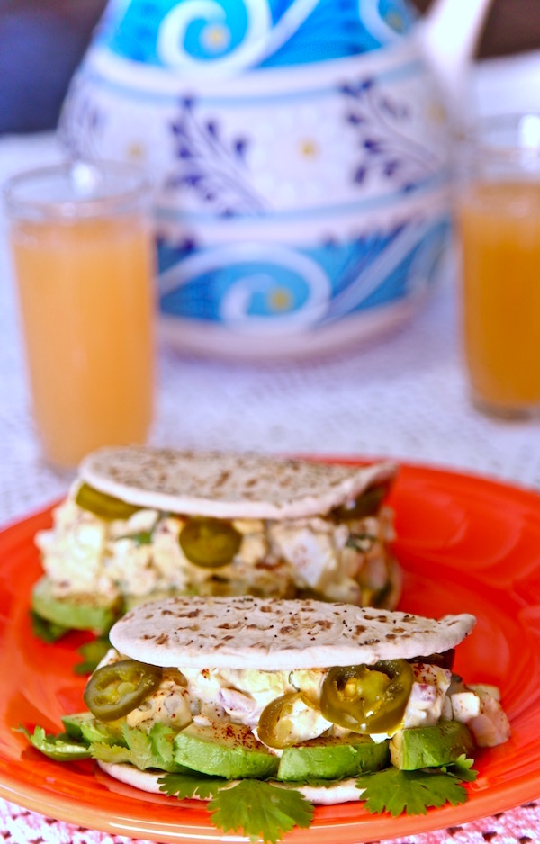 Spicy egg salad wrapped in an Everything Flatout Flat Bread
