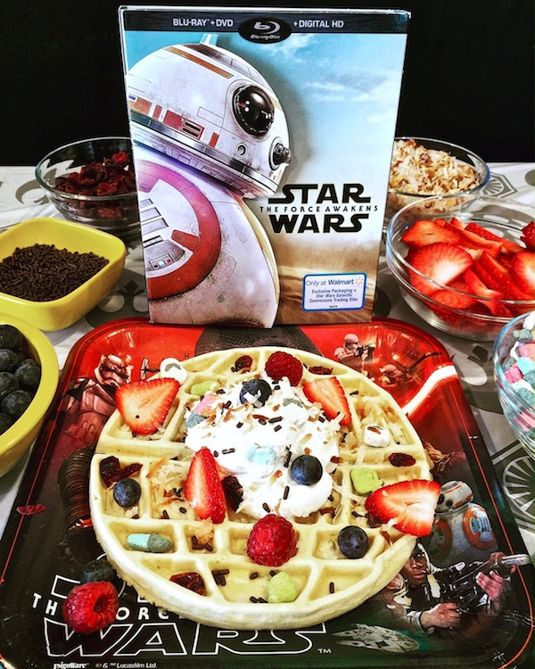 Celebrating the release of Star Wars The Force Awakens on Blu Ray / DVD with a Death Star waffle bar and a viewing party at home. Buy Everything you'll need at Walmart including the exclusive packaged Star Wars The Force Awakens DVD.
