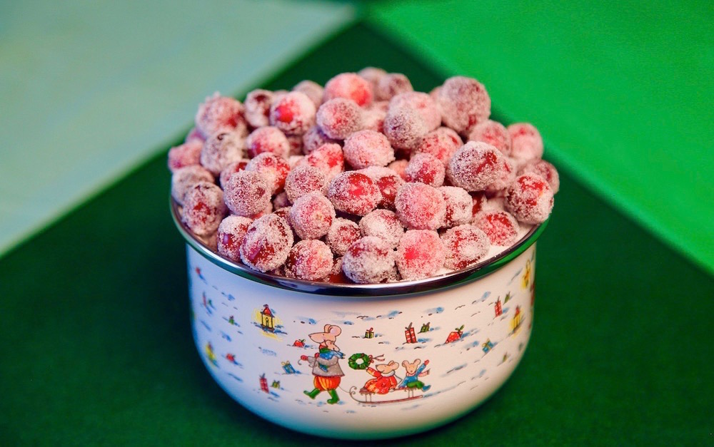 easy sugared cranberries are perfect to use as a garnish