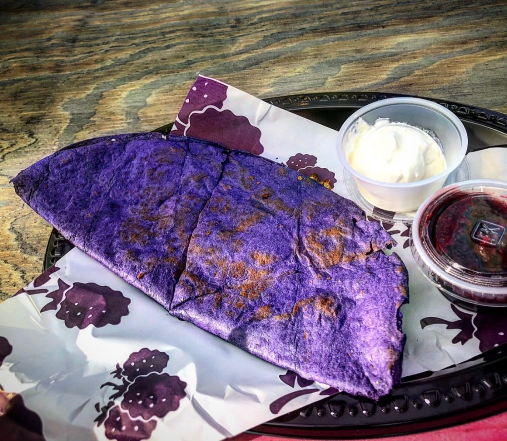 Boysenberry quesadilla plate